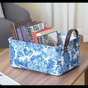 New Pioneer Woman blue Floral Canvas Basket